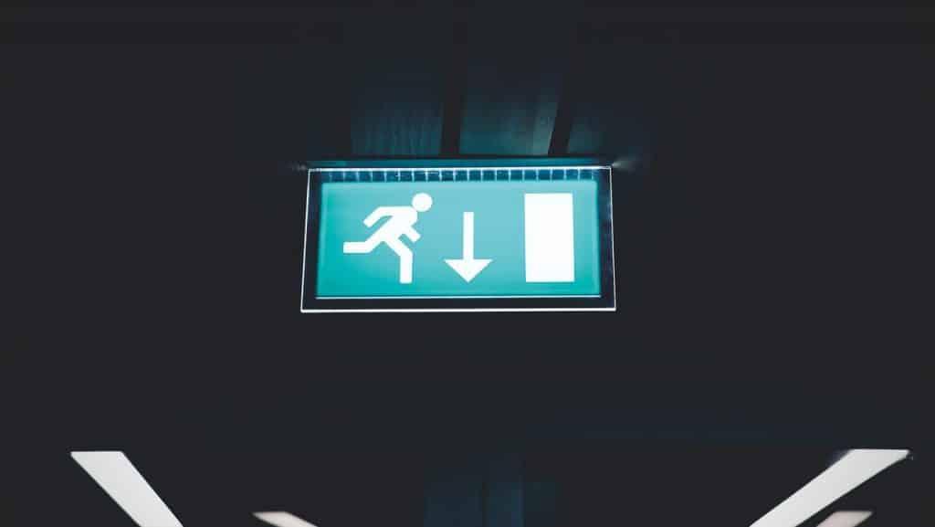 Panneau de signalisation, sortie de secour