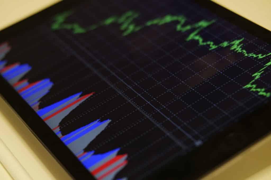 Tablette avec graphiques de bourses affichés, investissement et fluctuation